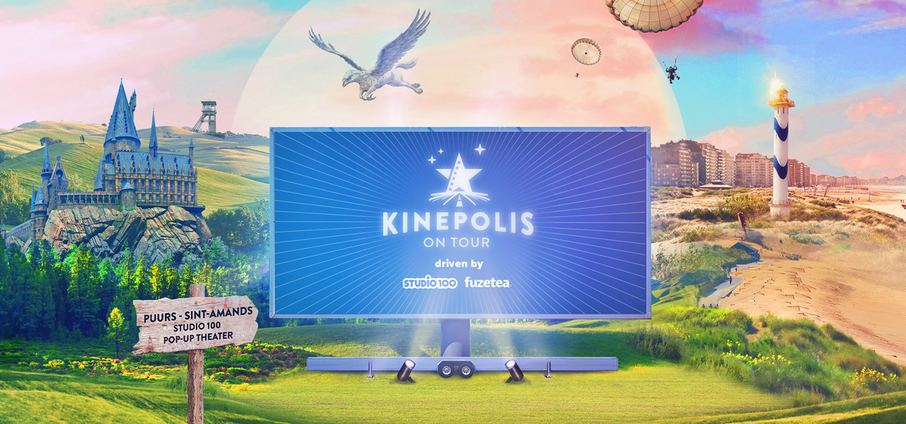 Fuze Tea als sponsor tijdens Kinepolis On Tour in het Studio 100 Pop-up theater