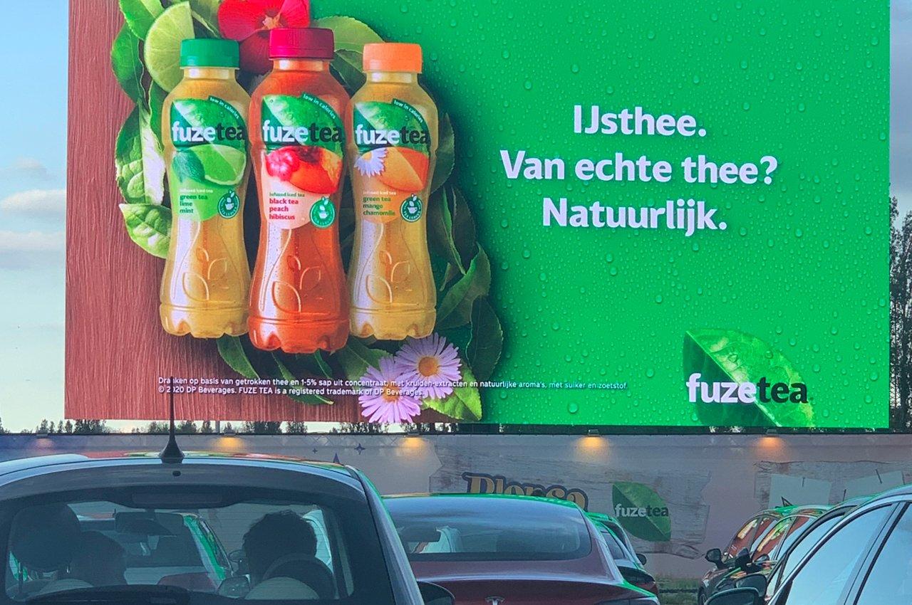 Visibiliteit op groot scherm voor Fuze Tea